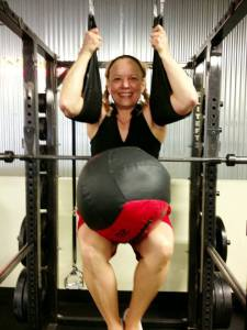 Having some fun in the gym with a 20lb Ball.