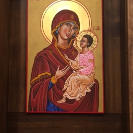 Icons on either side of the sanctuary; I believe the artist is a parishioner.